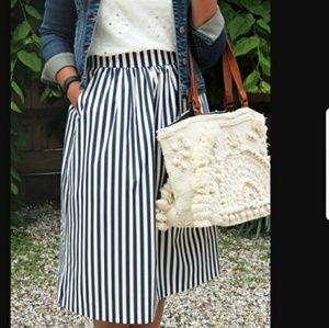 Zara Woman Striped Midi Skirt